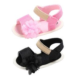 baby girl summer canvas shoes UK - Baby Summer Sandals Girls Soft Sole Princess Floral Flat Shoes Children Canvas Flower Shoes