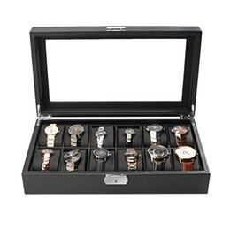China Carbon Fiber High-Grade 12 Slots Luxury Display Design Jewelry Display Watch Box Storage Black Watch Holder Case cheap design display cases suppliers