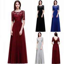 Wholesale 2018 New Elegant Scoop Neckline Navy Blue Designer Bridesmaid Dresses Chiffon Lace Long A Line Plus Size Maid of Honor Gowns CPS522