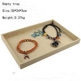$enCountryForm.capitalKeyWord NZ - New Arrival Wrapped Linen Jewelry Display Jewellery Tray Ring Holder Necklaces Organizer Bracelets Showcase Pendants Box