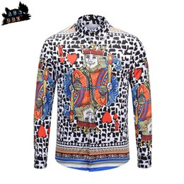Chinese  AC&DBZ catwalk show Creative playing card heart k men's slim shirt British wind leopard print shirt men's fashion casual manufacturers