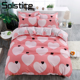 Ivory Linen Suit Canada - Solstice Home Textile King Queen Twin 3 4Pcs Bedding Suit Pink Heart Girl Kid Teenage Bed Linen Set Duvet Cover Pillowcase Sheet