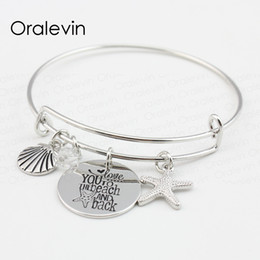 $enCountryForm.capitalKeyWord Australia - LOVE YOU TO THE BEACH AND BACK Shell Starfish Disc Charms Pendent Bracelet Bangle Lover Gift For Kids Jewelry,10Pcs Lot,#LN102B