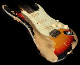 Custom Guitars Bodies Australia - Custom Shop Exclusive Masterbuilt 1964 Ultimate Heavy Relic Electric Guitar 3-Tone Sunburst w  Lightweight Alder Body