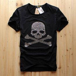 Wholesale diamond neck resale online - 2021 One Piece Men s Black O neck Men Luxury Diamond Design white color diamond skull Tshirt Fashion T shirts Funny Brand Cotton Tops And Tees