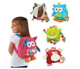 Wholesale gift snacks online shopping - Lovely Cartoon Animals Backpacks Baby Plush Shoulder Bag Schoolbag Toddler Snacks Book Bags School bag Kids Gift