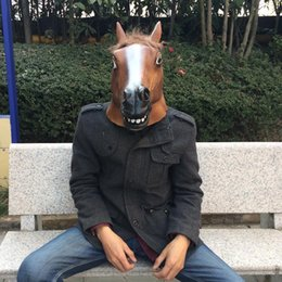 $enCountryForm.capitalKeyWord NZ - Halloween Realistic Latex Masks Horse Head Scary Mask Animal Costume Toys Funny Theater Prank Crazy Party Decoration Props