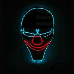 $enCountryForm.capitalKeyWord Australia - Hanzi_masks LED Mask Grimace Clown Masks,El Wire Glowing Mask for Halloween Rave Mask Costume Party Decoration