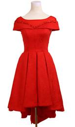 Short Red Lace Prom Vintage Dress NZ - New Red Lace 2018 Bateau Short Evening Dresses A-line Hi-Lo Lace Up Girls Fashion Prom Host Gowns Cheap Bridesmaid Dresses Vestido de Novia