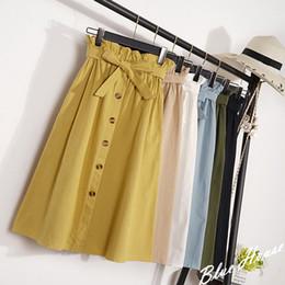 bccc54f7bdd Summer Autumn Skirts Womens 2019 Midi Knee Length Korean Elegant Button High  Waist Skirt Female Pleated School Skirt