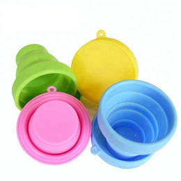 Portable silicone folding water cup retractable candy color for travel outdoor camping Gargle cup Hydration Gear on Sale