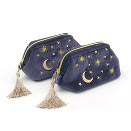 Pink Cosmetics Bags NZ - Large lovely cosmetics bag embroidery star and moon velvet tassel makeup zipper pouch brushes organizer storage blue pink