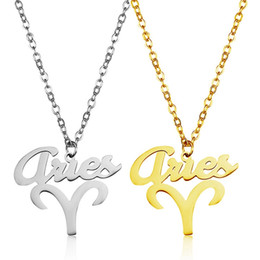 wholesale chain guard NZ - Aries Pendant Necklaces Twelve Constellation Stainless Steel Gold Plated Silver Luck Guard Women Jewelry Gift Stainless Steel Wholesale