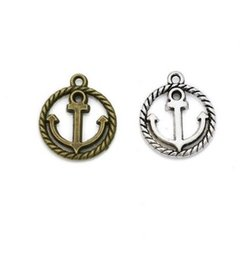$enCountryForm.capitalKeyWord UK - Hot 200pcs Vintage Style Bronze Silver Zinc Alloy Round Nautical Anchor Charms Necklace Pendant For Jewelry Making 15x18mm