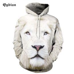 Chinese  Qybian New Arrival Men Women Joker Hoodie White lion Print 3D Sweatshirt Mens Hoodies Sweatshirt Tracksuits manufacturers