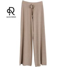 $enCountryForm.capitalKeyWord UK - Alcea Rosea Wide Leg Pants for Women Pleated Pants Female Solid Loose Office Lady OL Style Knitted 2018 Summer AR780