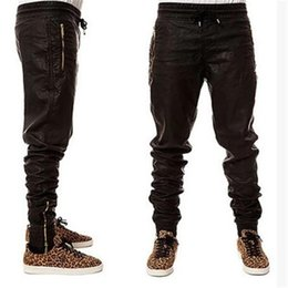 9605c55688567 Wholesale- New Kanye west Hip Hop big and tall Fashion zippers jogers Pant  Men Black Joggers dance urban Clothing Mens faux leather Pants