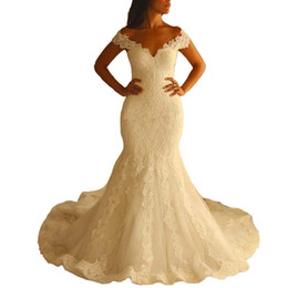 Discount v neckline mermaid wedding dress - Women's V Neckline Sexy Lace Wedding Dresses Long Mermaid Bridal Gown mariage wedding gown wedding dress mermaid ve