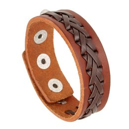 $enCountryForm.capitalKeyWord UK - New Fashion Brown Leather Knitting Bracelet Punk Style Cowhide Leather Wristband with Alloy Snap Fastener Jewelry Accessorie Birthday Gifts