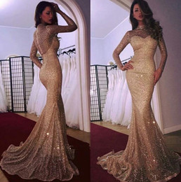Wholesale Glamorous Long Sleeve Mermaid Prom Dresses With Sequins Evening Dress Dubai Arabic Party Gowns