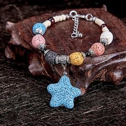 Cute stone braCelets online shopping - Cute Star Pendant Colorful Lava Stone Powerful Energy Alloy Perfume Bracelet Style Free DHL G646S