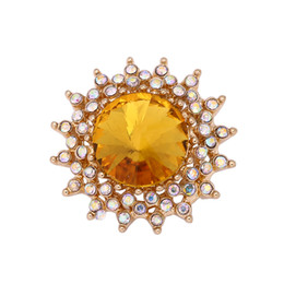 Cheap Bracelet Sets UK - Fashion Cheap Snap Button 18mm Yellow Crystal Flower DIY Necklace Bracelet Accessory