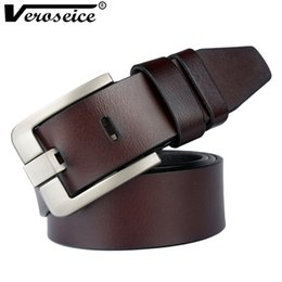 Discount genuine leather strap male belt - [Veroseice] New Arrival Fashion Men Belt Genuine Leather Jeans Strap Real Leather Man Waist Belt High Quality Male Waist