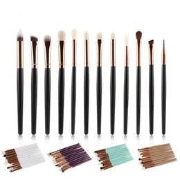 Wholesale hair goats resale online - 12Pcs Goat Hair Eye Makeup Brushes Set Professional Powder foundation Eyebrow Eyeshadow Eyeliner Nose makeup brush Beauty Tool