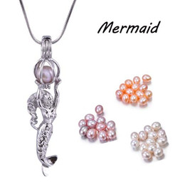 $enCountryForm.capitalKeyWord Canada - New Arrial Fashion Cage Pendant With 6-7MM Rice Pearl Shell Mermaid Flying Fish Fat Butterfly Cute Pendant Fit Chain Necklace PP14