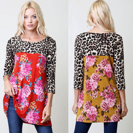T Shirt Pullover Canada - Leopard Floral Printed T shirt Women 1 2 Sleeves Blouse Shirts Women O-Neck Pullover Fashion Spring Women's Top Clothing