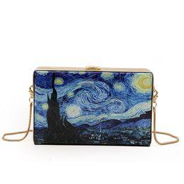 471cf35c98 Van Gogh Star Oil Painting Clutches Women Handbag Crossbody Bags Famous  Design Box Bag Purse Women Chain Shoulder Bag Sac A Main