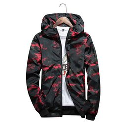 Chinese  2018 Men's Spring Summer Hood Jackets Fashion Camouflage Print Waterproof Windbreaker Casual Bomber Jacket Coat Outwear Chaqueta manufacturers