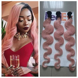 1b Pink Human Hair Australia - 3 Bundles 1B Pink Ombre Hair Extensions Two Tone Color 1B Pink Ombre Body Wave Brazilian Unprocessed Human Hair Weaving