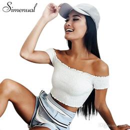 2b8134e16e Simenual Slash neck summer t shirt crop top women clothing off shoulder t-shirts  cropped tops ruffles white t-shirt female sale