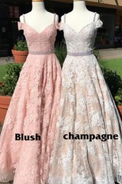 $enCountryForm.capitalKeyWord NZ - Gorgeous High-end Blush Champagne Evening Dresses 2018 Cheap Cold Shoulder Stylish Lace A line Beads Sequin Cheap Prom Pageant Formal Dress