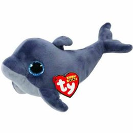 "China Pyoopeo Ty Beanie Boos 6"" 15cm Echo the Dolphin Plush Regular Soft Big-eyed Stuffed Animal Collectible Doll Toy with Swing Tag supplier dolphins toy doll suppliers"