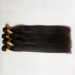 indian virgin remy hair weave Australia - Silky Straight Mongolian Brazilian Virgin Hair weaves 8-28inch Natural black soft High quality Human hair weft Peruvian Indian remy Hair