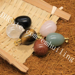 Eye Shaped Pendants NZ - 10Pcs New 25mm*15mm Mini Hand Polished Natural Semi Precious Stone Quartz Crystal Rose Quartz Black Onyx Tiger's Eye Egg Shape Pendant Charm