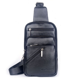 genuine leather men sling bags Australia - Men Genuine Leather First Layer Cowhide Messenger Shoulder Cross Body Bag Travel Climb Male Sling Chest Back Pack Daypack