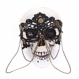 $enCountryForm.capitalKeyWord UK - Retro Steampunk Black Lace Chains Eye Mask Party Masks For Masquerade Halloween Venetian Costumes Carnival Gears Mask Gothic
