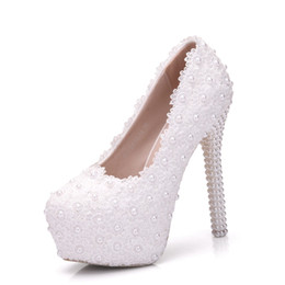 $enCountryForm.capitalKeyWord UK - New handmade fashion Round toe shoes for women white pearls high heel wedding shoes lace flowers super heels Plus Size bride Shoes