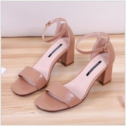 da29321660d3 Fashion sandals women s thick with high-heeled shoes Europe and the United  States tide a type of microfiber leather exposed toe square buckl