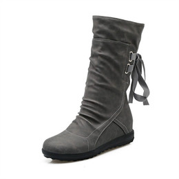 lace up heels for ladies UK - new autumn winter style women mid-calf boots matte flock lace up boots for women ladies height increasing boots woman zx874