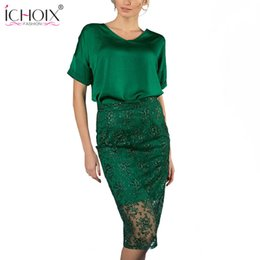 $enCountryForm.capitalKeyWord Canada - 2018 Summer Women Sexy Two Pieces Set Knee Length Green Lace Skirts and Tops Sheath Casual Office Lady Party Bodycon Vestidos