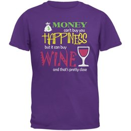 Chinese  Money Happiness Wine Funny Purple Adult T-Shirt Funny free shipping Unisex Casual tee gift manufacturers