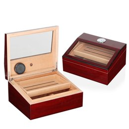 cedar cigar boxes 2019 - New arrival high-end red color double layer cedar cigar humidor with lock has hygrometer and clear cover