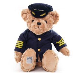 bear dolls UK - 1pc 25cm Cute Pilot Teddy Bear Plush Toy Captain Bear Doll Birthday Gift Kids Toy Baby Doll Stuffed Animal Toys for Children