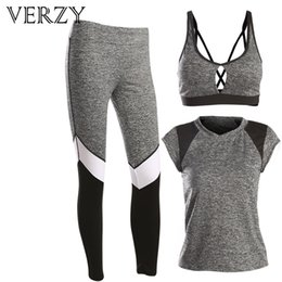 $enCountryForm.capitalKeyWord Canada - VERZY 2017 New Women Yoga Set Bra+T-shirt+Pants 3 Pieces Set Grey Fitness Sports Suit Gym Running Tights Breathable Jogging Suit
