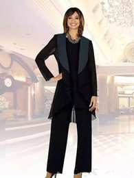 $enCountryForm.capitalKeyWord NZ - 2019 New Black Chiffon Mother of the Bride Suits Plus Size Cheap Three Pieces Mother of Bride Groom Pant Suit for Wedding Pant Suit 310