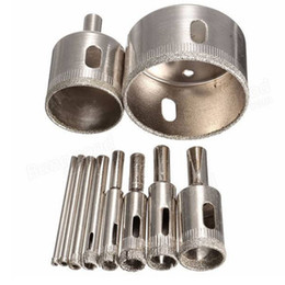 Glass Core Drills NZ - Freeshipping 10Pcs lot 3-50mm Diamond Core Drill Bit Hole Saw Set for Glass Ceramic Marble Tile Metal Drilling Work Electric Drill Better